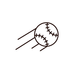 Flying baseball or softball with motion path lines - vector icon on isolated background. Base ball sign, emblem, element in thin line style.