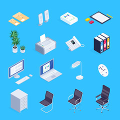 Set of isometric icons of office equipment.