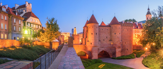 Panoramic view of old Warsaw Old Town. Barbican, Fortified medieval outpost.
