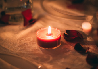 Romantic Valentine's Day Candles on Dinner Table