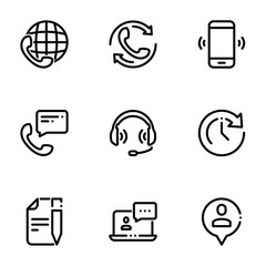 Set of black icons isolated on white background, on theme Communications