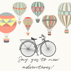 Adventures. Illustration with bicycle and air balloons in vintage hipster style