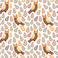 Vector seamless pattern with cute owls and floral elements on the white background