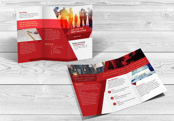 Trifold Brochure Layout with Red Accents