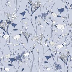 Bright Blue Seamless Flower Vector Pattern