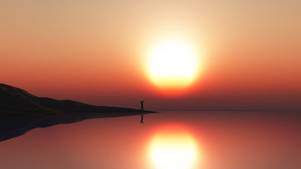 3D landscape with man standing at the sea edge against a sunset sky