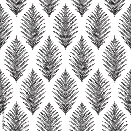 Vector Ethnic Seamless Background In Modern Textured Ikat Pattern. Tribal  Black And White Graphic Design