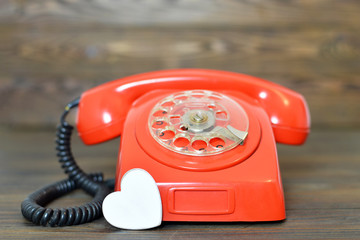 Valentines Day card with retro telephone and heart