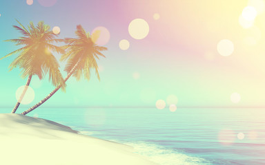 3D retro landscape with palm trees on beach