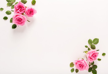 Pink roses with green leaves top view flat lay