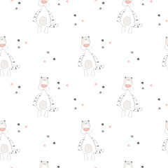 Vector print with cartoon tiger for baby. Seamless pattern. Vector illustration.