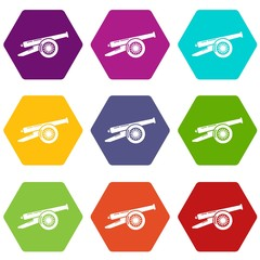 Enemy cannon icons 9 set coloful isolated on white for web