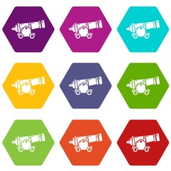 Shooting gun icons 9 set coloful isolated on white for web