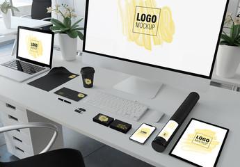 Corporate Identity Set on Desk Mockup