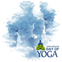 Vector illustration abstract background for celebrating International Yoga Day  of June 2. Designs for posters, backgrounds, cards, banners, stickers, etc