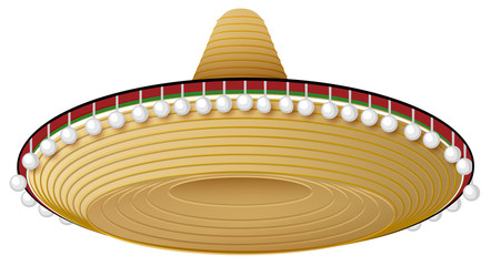 Straw mexican hat with wide brim and decorations