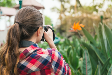 Girl in plaid shirt takes picture of flower in park, rear view. Photograph, naturalist, study of nature theme.