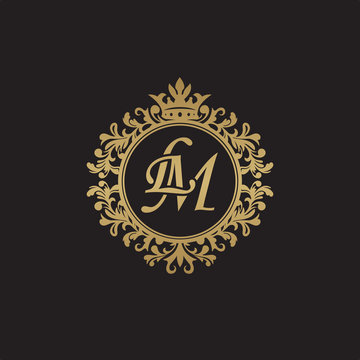 Initial letter LM, overlapping monogram logo, decorative ornament badge, elegant luxury golden color