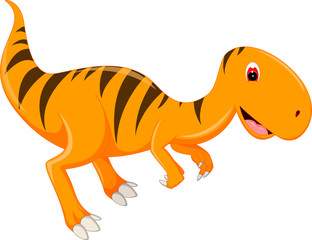 cute t-rex cartoon standing with smile and waving
