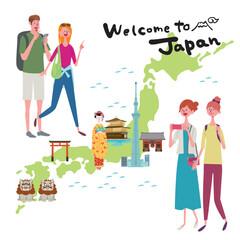 インバウンド イラスト 観光客 日本地図