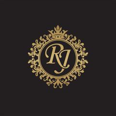Initial letter RJ, overlapping monogram logo, decorative ornament badge, elegant luxury golden color