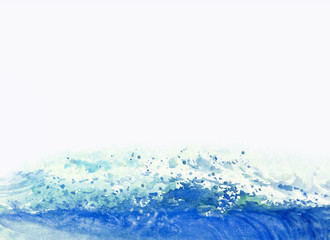 Watercolor painting background big sea wave.