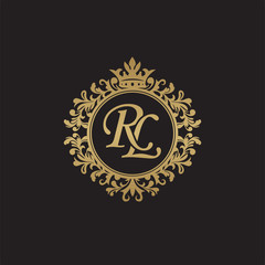 Initial letter RL, overlapping monogram logo, decorative ornament badge, elegant luxury golden color