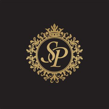 Initial letter SP, overlapping monogram logo, decorative ornament badge, elegant luxury golden color
