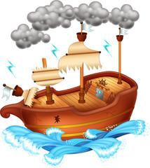 cute yacht cartoon on white background