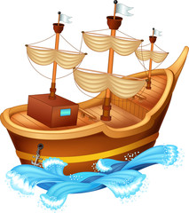 funny yacht cartoon on water and white background
