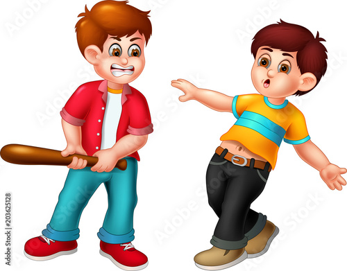 Angry Childrens Fighting Cartoon Stock Photo And Royalty Free