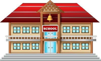 antique school building cartoon on white background