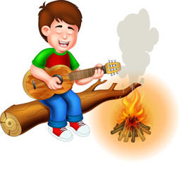 funny boy cartoon sitting play guitar with smile