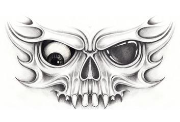 Art Mask Skull Tattoo. Hand pencil drawing on paper.