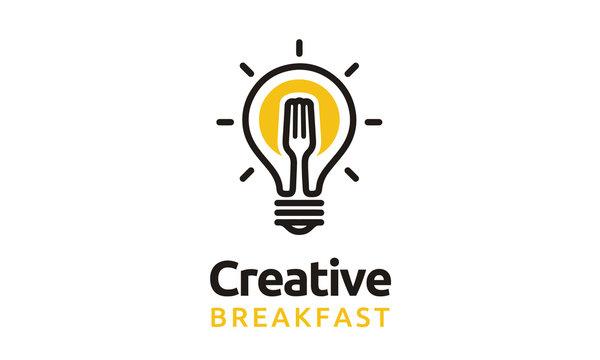 Light Bulb Fork Sun Fried Egg Breakfast Restaurant Creative logo design inspiration