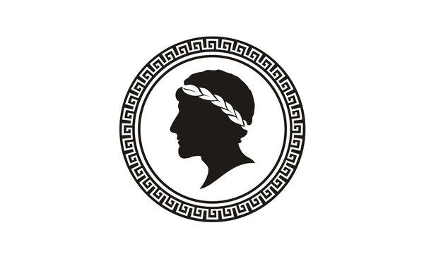 Ancient Greek Figure Philosopher Laurel Wreath Coin Medal Medallion logo design