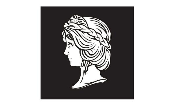 Beauty Greek Myth Woman God Goddess Head Sculpture logo design inspiration
