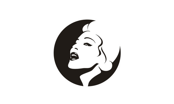 American Retro Vintage Singer Woman Beauty Face Silhouette Logo