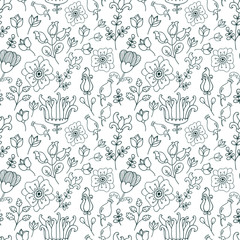 Vector seamless pattern with different floral elements