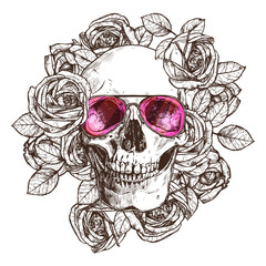 Hand Drawn Human Skull With Sunglasses, Flowers. Sketch Vintage Style. Hipster Boho Fashion Vector Illustration Of Skull With Roses