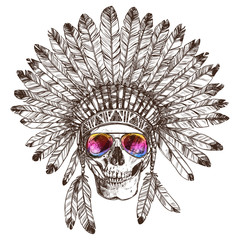 Hand Drawn Native American Indian Headdress With Human Skull And Fashion Sunglasses. Sketch Hipster Boho Illustration With Indian Tribal Chief Feather Hat, Skull, Spectacles