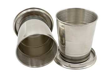 two folding metal cup on white