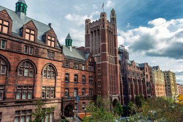 Tall historical university building in New York, USA