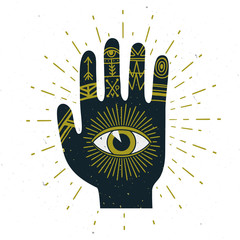 Vector abstract illustration with sunburst, hand, ornaments and all seeing eye symbol. Stylish vintage background. Grunge effect is on a separeted layer.
