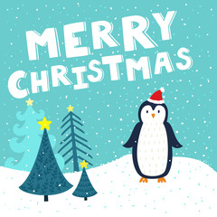 "Vector Christmas card with cute penguin in Santa's hat. Holiday background with hand drawing cartoon character, winter landscape, Christmas trees and text ""Merry Christmas""."