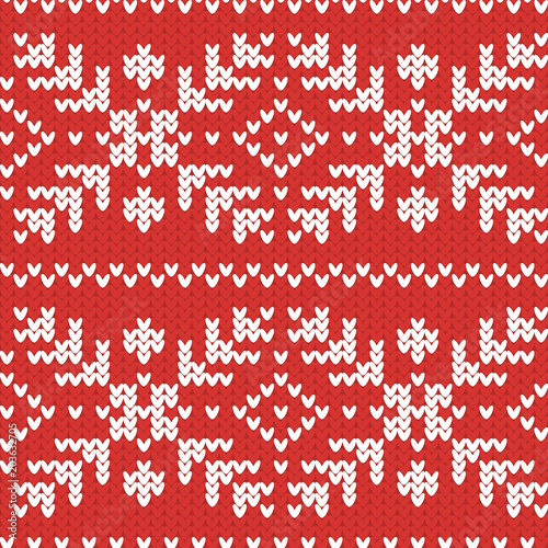 Vector Knitted Pattern With Snowflakes Norwegian Sweater Ornaments