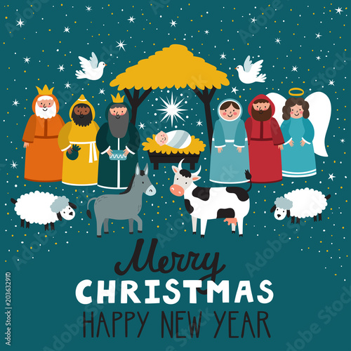 Traditional Christmas Scene Vector Background With Nativity Scene
