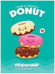 Vintage food poster design with vector donuts characters.