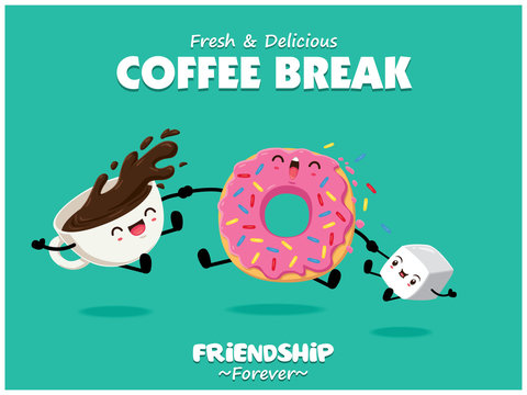 Vintage food poster design with vector donuts, coffee, sugar characters.