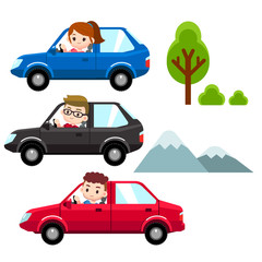 Vector set of people, man, woman driving different cars with some tree and mountain in background.
